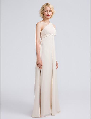 מעטפת \ עמוד כתפיה אחת עד הריצפה שיפון שמלה לשושבינה  עם בד בהצלבה / אסוף על ידי LAN TING BRIDE®