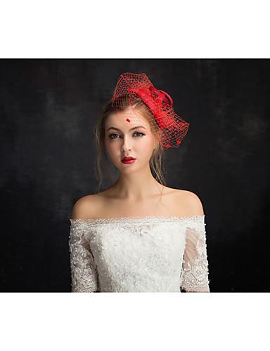 abordables Demoiselles d'Honneur-tulle lin dentelle fascinators net bandeau classique style féminin