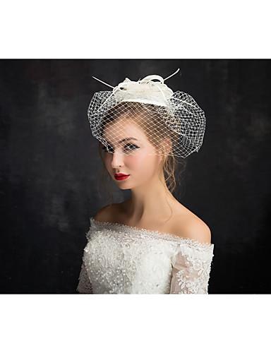 abordables Demoiselles d'Honneur-dentelle de lin plume net fascinators bandeau classique style féminin
