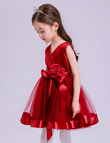 גזרת A קצר \ מיני שמלה לנערת הפרחים - טול ללא שרוולים צווארון וי עם