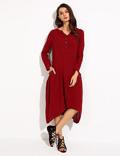 Kadın's Günlük Pamuklu / Keten Salaş / Çan Elbise - Solid V Yaka Asimetrik / Sonbahar