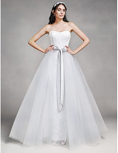 A-Line Sweetheart Floor Length Lace Tulle Wedding Dress with Lace by LAN TING BRIDE®