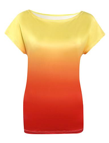 Feminino Camiseta Para Noite Sensual Verão,Estampado Poliéster Decote Redondo Manga Curta Fina