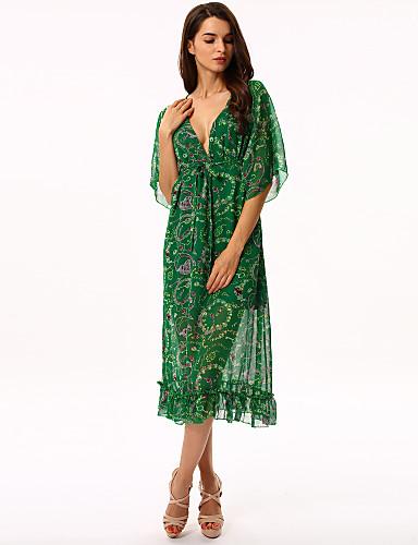 Γυναικείο Αργίες Μπόχο Φαρδιά Σιφόν Swing Φόρεμα,Στάμπα Μακρυμάνικο Βαθύ V Μακρύ Πολυεστέρας Άλλα Καλοκαίρι Ψηλοκάβαλο Ανελαστικό Λεπτό