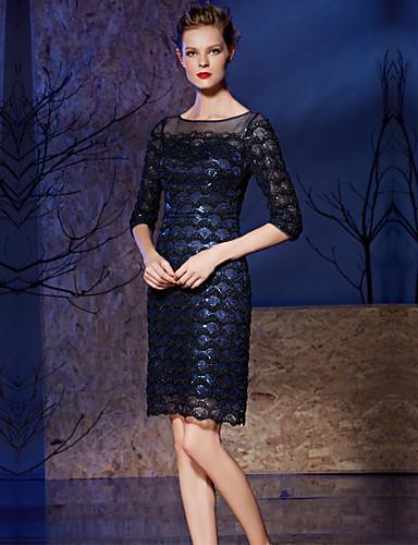 Eng anliegend Illusionsausschnitt Knie-Länge Spitze Pailletten Cocktailparty Kleid mit Paillette Spitze durch Vanedress