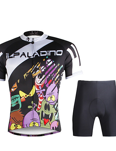 cheap Cycling Clothing-ILPALADINO Men's Short Sleeve Cycling Jersey with Shorts - Black Bike Jersey Clothing Suit Breathable Quick Dry Ultraviolet Resistant Sports 100% Polyester Lycra Mountain Bike MTB Road Bike Cycling