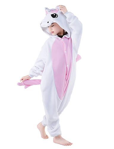 Kinder Kigurumi-Pyjamas Unicorn Pyjamas-Einteiler Polar-Fleece Rosa Cosplay Für Jungen und Mädchen Tiernachtwäsche Rückseitiger Reißverschluss für Toilette Karikatur Halloween Fest / Feiertage