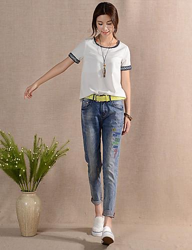 Dame Afslappet Harem Jeans Bukser Helfarve