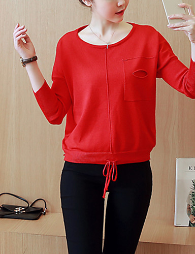 Dame Street I-byen-tøj / Casual/hverdag Normal Pullover Ensfarvet,Rød / Brun Rund hals Langærmet Bomuld Forår / Efterår Medium