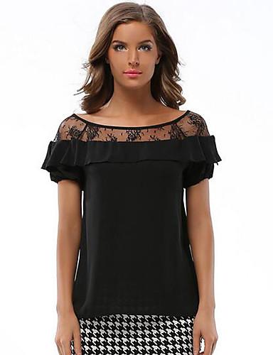 Vrouwen Sexy / Street chic Zomer Blouse,Uitgaan Patchwork Ronde hals Korte mouw Zwart Polyester Dun