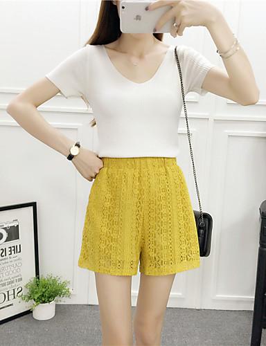 Dame Simpel Casual/hverdag Normal Pullover Ensfarvet,Hvid V-hals Kortærmet Bomuld Sommer Medium