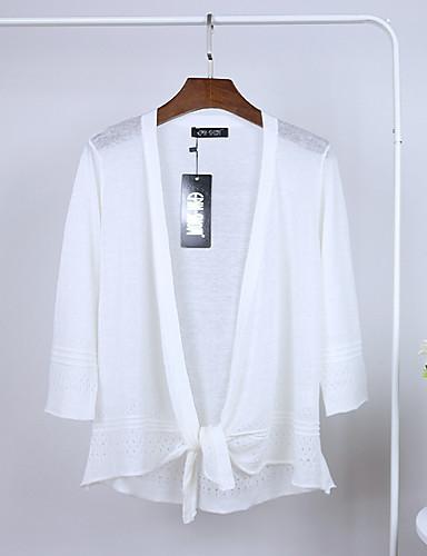 Dames Casual/Dagelijks Eenvoudig Schattig Kort Vest Effen Jacquard-Sjaalrevers Lange mouw Katoen Linnen Zomer Herfst Dun Micro-elastisch