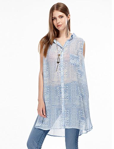 Dames Eenvoudig Zomer Singlet,Uitgaan Patchwork Overhemdkraag Mouwloos Polyester Dun