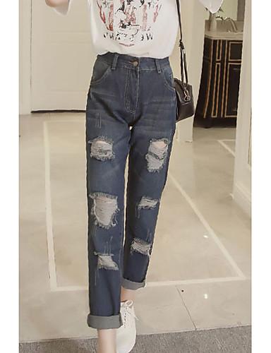 Kvinders Simpel Harem / Jeans Bukser Uelastisk Bomuld