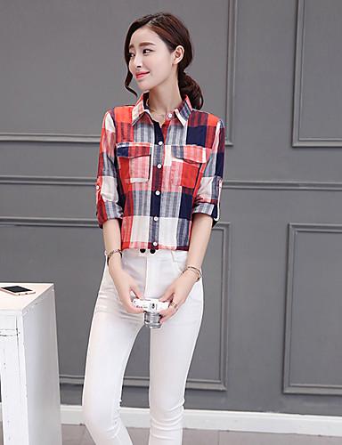 Polyester Skjortekrage Skjorte - Rutet Dame