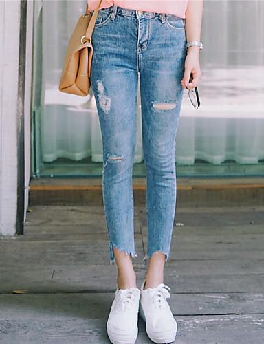 Dame Afslappet Mikroelastisk Jeans Bukser Bomuld Ensfarvet Alle årstider