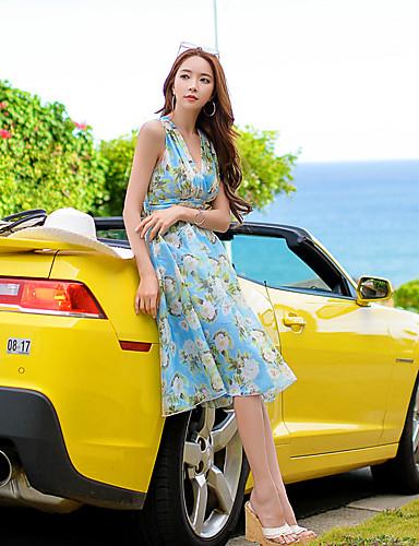 Mulheres Chifon / Swing Vestido,Férias / Praia Sensual / Vintage / Boho Floral Decote V Altura dos Joelhos Sem Manga Azul Poliéster Verão