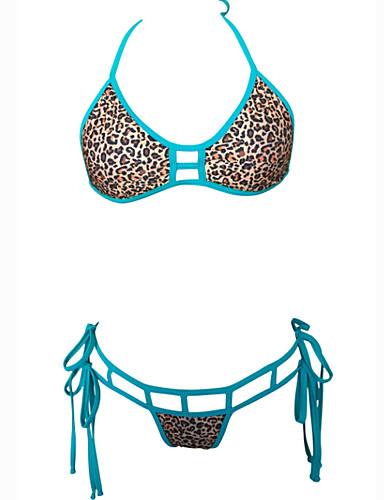 Kvinders Nylon / Spandex Halterneck Dyr / Kontor / Bedrift Bikini