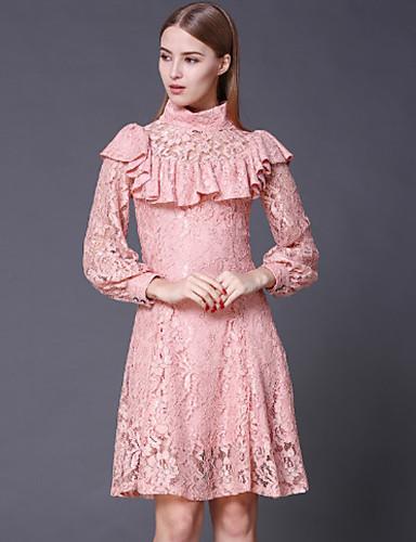 Stephanie mulheres saindo de gola alta dresssolid do vintage acima do joelho manga longa rosa do algodão / rayon