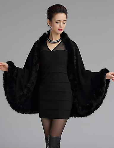 Damen Standard Mantel / Capes-Übergröße Retro Solide Rot Schwarz Gelb Lila V-Ausschnitt Langarm Wolle Acryl Winter Mittel Mikro-elastisch