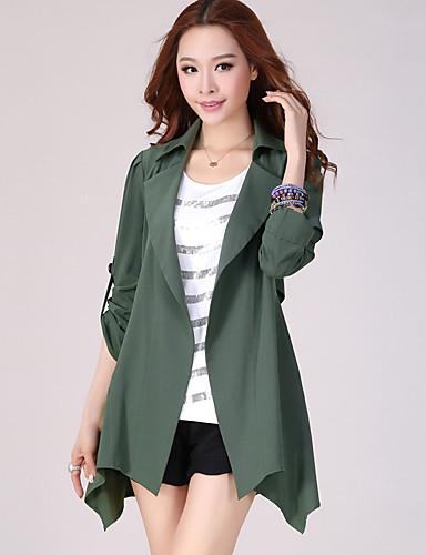 Vrouwen Eenvoudig Herfst Trenchcoat,Grote maten Overhemdkraag-Lange mouw Zwart / Groen Effen Medium Katoen / Polyester
