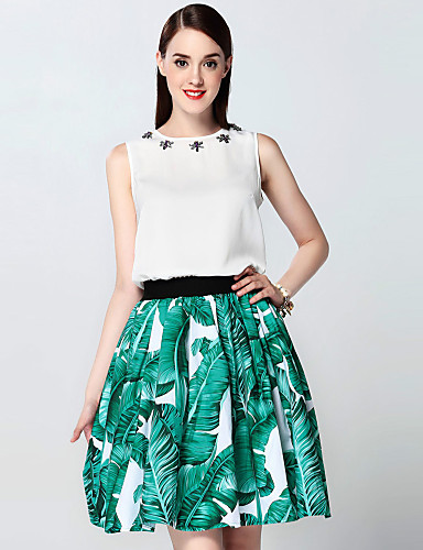 mary yan& yu kvinders gå ud sofistikeret sommer sæt, print rund hals ærmeløs hvid bomuld / spandex medium