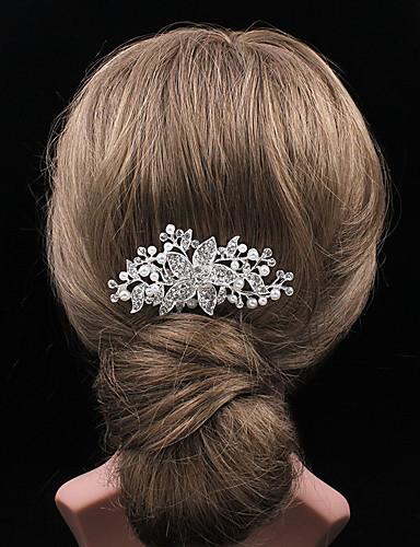 Dame Hårkam - Sølv Perler, Ensfarvet
