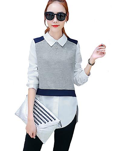 Damen Einfarbig Hemd, Hemdkragen Ringer-Rücken-Kleid Baumwolle Kunstseide