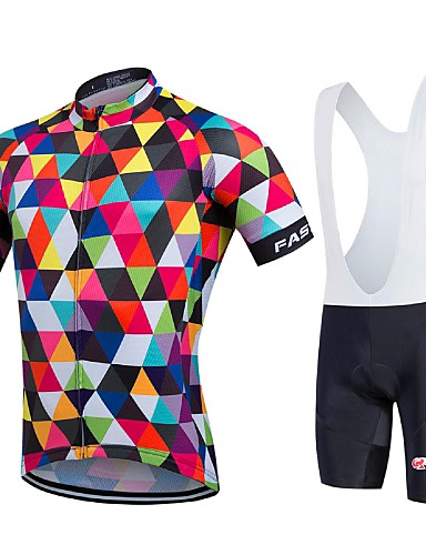 cheap Cycling Clothing-Fastcute Men's Short Sleeve Cycling Jersey with Bib Shorts - Rainbow Geometic Bike Jersey Bib Tights Clothing Suit Breathable Quick Dry Sports Coolmax® Lycra Geometic Road Bike Cycling Clothing