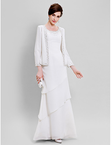 68f113fe3b Sheath   Column Scoop Neck Floor Length Chiffon Mother of the Bride Dress  with Beading by