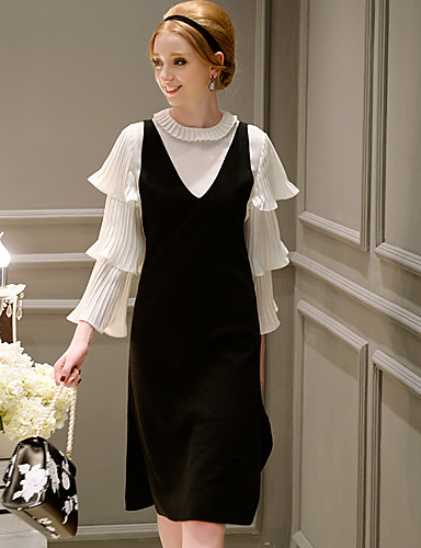 casual / vintage / simples sofisticado um vestido diária / linha de dabuwawa mulheres, sólida v sem mangas pescoço midi
