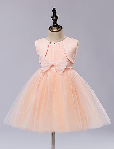 A-line knie lengte bloem meisje jurk - satijn tule mouwloze juweel hals met lint