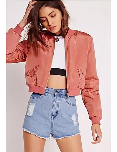Mulheres Curto Jacket Bomber Diário Moda de Rua Inverno Outono, Sólido Algodão Decote Redondo