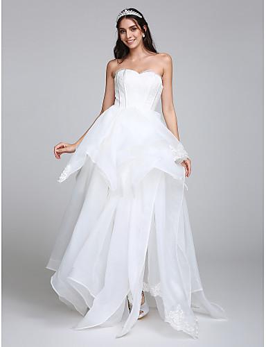 Trapèze Coeur Longueur Sol Organza Robes de mariée personnalisées avec Appliques Dentelle par LAN TING BRIDE®