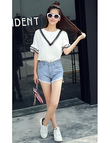 Kortærmet Rund hals Medium Kvinders Hvid Ensfarvet Sommer Simpel / Sødt I-byen-tøj / Casual/hverdag T-shirt,Bomuld