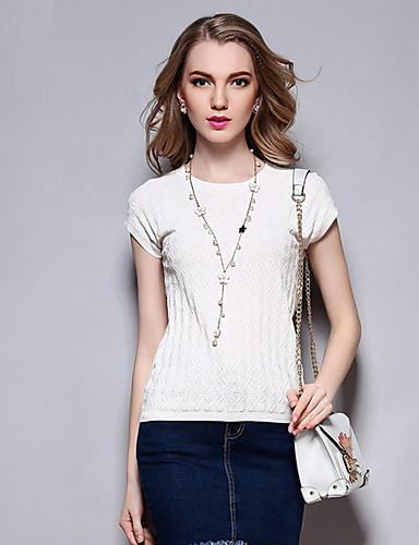 Sybel kvinners casual / daglig enkel sommer t-skjorte, solid runde halsen korte ermer hvit bomull medium