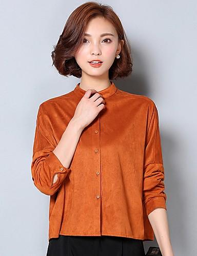 Mulheres Camisa Trabalho Simples Outono,Sólido Amarelo Algodão / Linho Colarinho Chinês Manga Longa Média