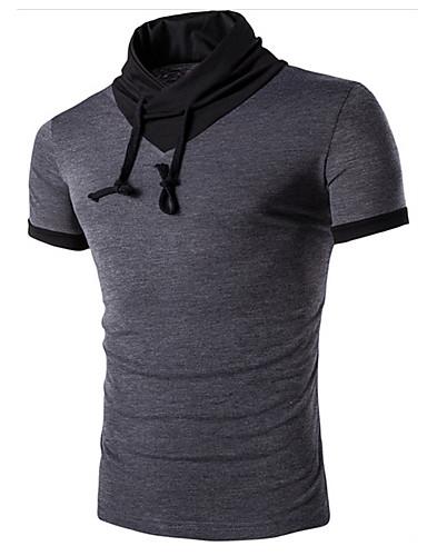 voordelige Heren T-shirts & tanktops-Heren Actief T-shirt Sport Effen Opstaand Wit / Korte mouw / Zomer
