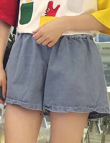 Kvinner Enkel Shorts Bukser Bomull Mikroelastisk