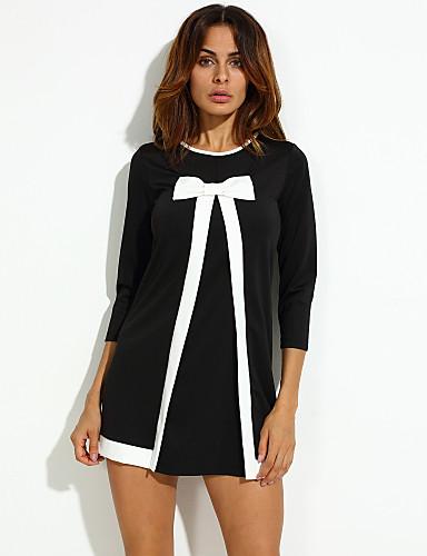 Parti Vintage Elbise Solid,Uzun Kollu Yuvarlak Yaka Diz üstü Polyester Sonbahar Mikro-Esnek Kalın