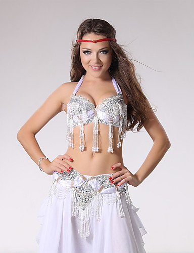fddb6ebbf43d Belly Dance Outfits Women's Performance Cotton / Polyester Beading / Sequin  / Tassel Sleeveless Dropped Top / Belt