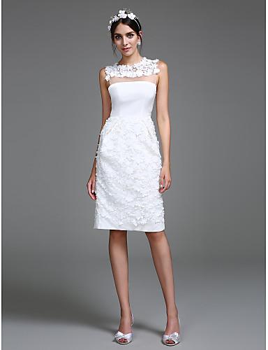 Tube / kolonne Besmykket Knelang Chiffon Made-To-Measure Brudekjoler med Blomst av LAN TING BRIDE® / Små Hvite Kjoler