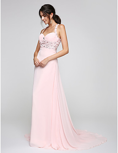 A-Line Straps Court Train Chiffon Formal Evening Dress with Beading Ruching by TS Couture®