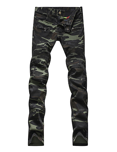 camouflage Mænds Fritid Chinos Bomuld / Spandex Grøn