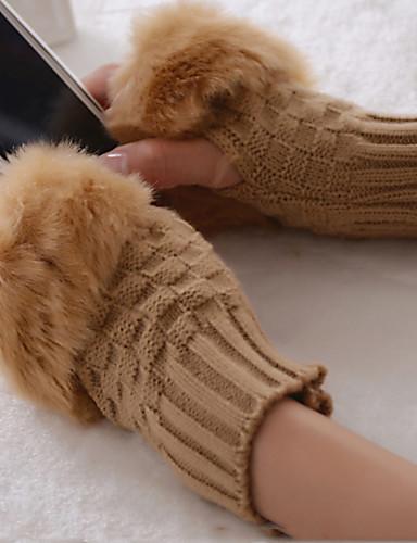 Damen Niedlich, Wolle Halbfinger Handschuhe