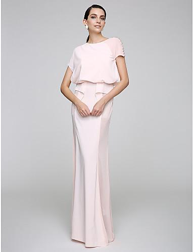 מעטפת \ עמוד עם תכשיטים עד הריצפה שיפון נשף רקודים / ערב רישמי שמלה עם כפתורים על ידי TS Couture®