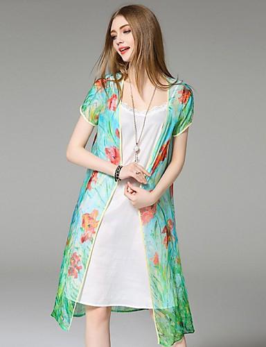 engel kvinders afslappet / daglig street chic sommer jakker, print v hals kortærmet grøn silke tynde
