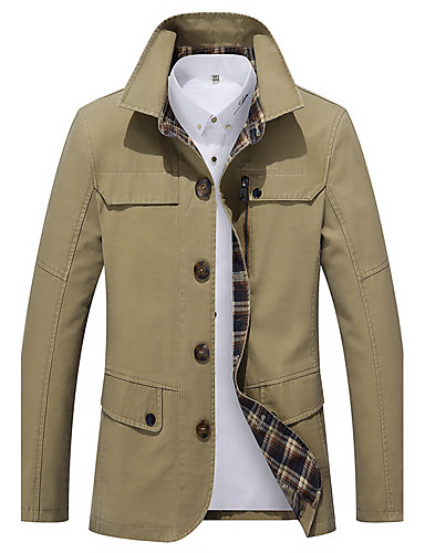 Men's Work Simple Casual Street chic Boho Plus Size Cotton Trench Coat-Solid Colored,Print Shirt Collar