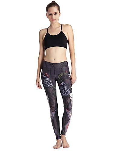 MIDUO Dame Sports-BH m. tilhørende løbebukser Komprimering Leggins Underdele for Yoga Træning & Fitness Løb Elastin Tynd Sort