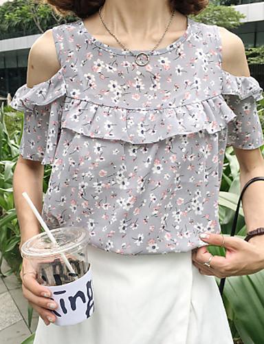Kortærmet Rund hals Tynd Dame Grå Blomstret Sommer Vintage I-byen-tøj Afslappet/Hverdag Bluse,Polyester